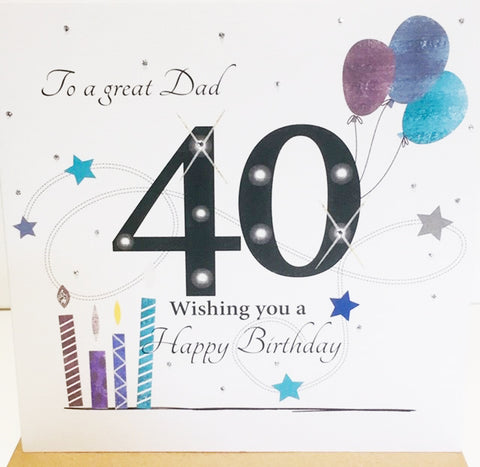 Happy 40th Birthday Card Dad - 6 x 6 Inches - HerbysGifts.com