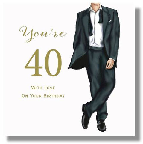 Happy 40th Birthday Card For Male  - HerbysGifts.com