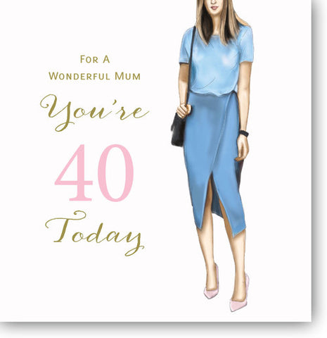 LARGE Happy 40th Birthday Card For Mum - HerbysGifts.com - 8.25 x 8.25 Inches