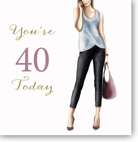LARGE Happy 40th Birthday Card For Her - HerbysGifts.com - 8.25 x 8.25 Inches