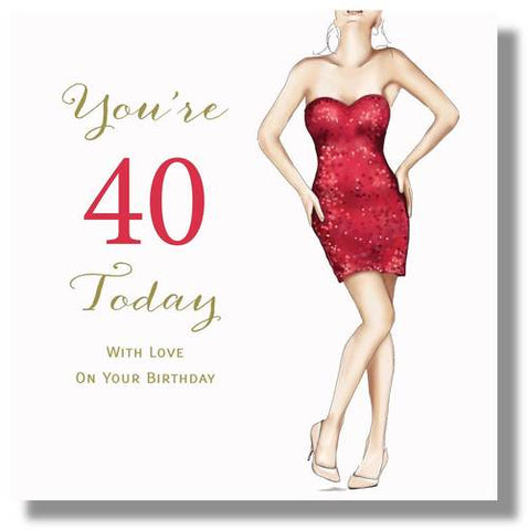 LARGE Happy 40th Birthday Card For Women - HerbysGifts.com - 8.25 x 8.25 Inches