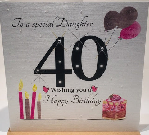 Large 40th Birthday Card - Daughter - HerbysGifts.com