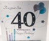 Large 40th Birthday Card Son - 8.25 x 8.25 Inches - HerbysGifts.com