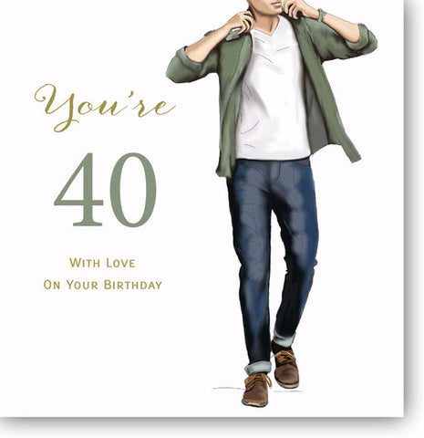 LARGE Happy 40th Birthday Card For Him - HerbysGifts.com - 8.25 x 8.25 Inches
