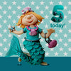 5th Birthday Card For A Girl  - HerbysGifts.com - 6 x 6 Inches