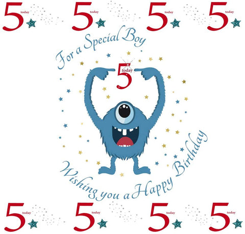 Happy 5th Birthday Card For A Boy - 7.5 x 5.25 Inches - HerbysGifts.com