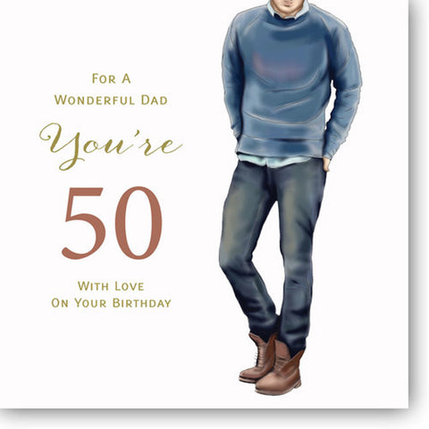 HAPPY 50th Birthday Card For Dad - HerbysGifts.com - 8.25 x 8.25 Inches
