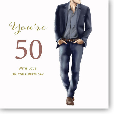 Happy 50th Birthday Card For Men - HerbysGifts.com - 8.25 x 8.25 Inches