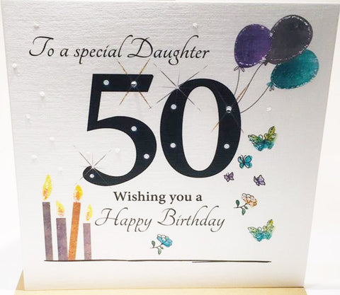 Large 50th Birthday Card Daughter - HerbysGifts.com