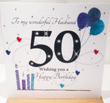HAPPY 50th Birthday Card For Husband - HerbysGifts.com - 6 x 6 Inches