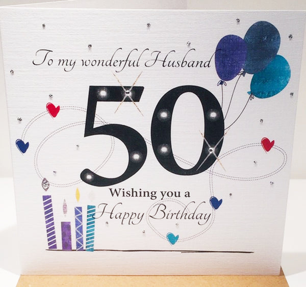 LARGE HAPPY 50th Birthday Card For Husband