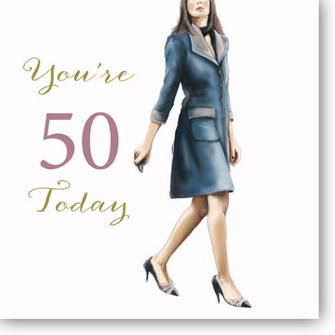 Happy 50th Birthday Card For Her - HerbysGifts.com - 8.25 x 8.25 Inches