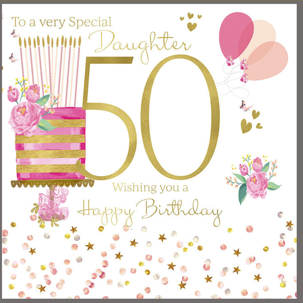 50th Birthday Card Daughter 50th Birthday Card Daughter Daughter 50th Birthday Card Greeting Cards Herbys Gifts Cards