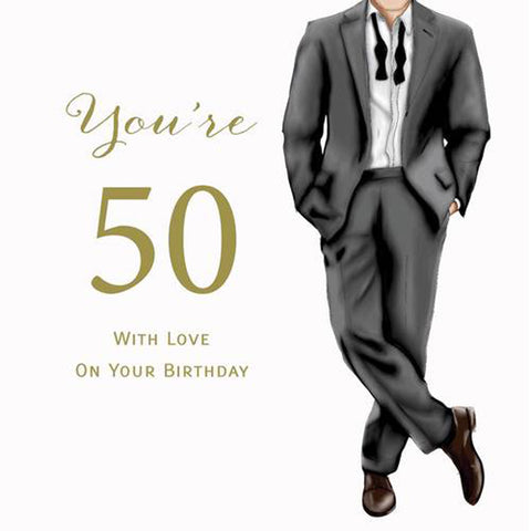 LARGE Happy 50th Birthday Card For A Man - HerbysGifts.com - 8.25 x 8.25 Inches