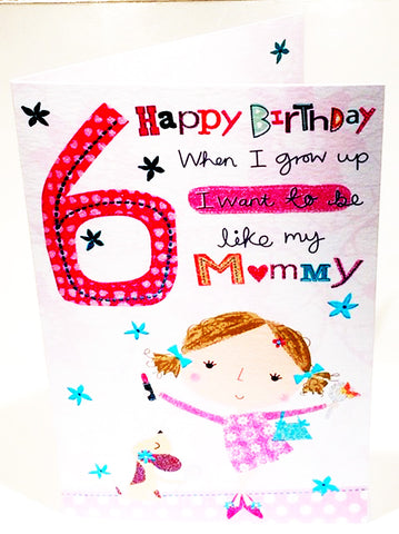 6th Birthday Card For A Girl  - HerbysGifts.com - 8.25 x 5.5 Inches