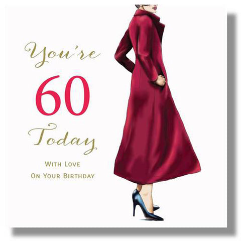 Happy 60th Birthday Card For Her - HerbysGifts.com - 8.25 x 8.25 Inches