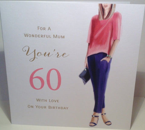 Happy 60th Birthday Card For Mum - HerbysGifts.com - 8.25 x 8.25 Inches
