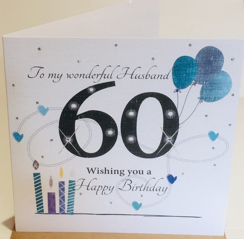 Large HAPPY 60th Birthday Card For Husband - HerbysGifts.com - 8.25 x 8.25 Inches