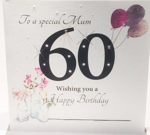 Large Happy 60th Birthday Card Mum - 8.25 x 8.25 Inches - HerbysGifts.com