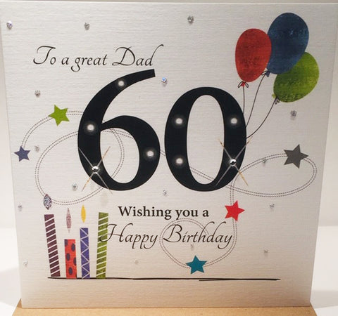 Happy 60th Birthday Card Dad - 6 x 6 Inches - HerbysGifts.com