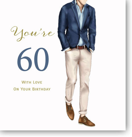 Happy 60th Birthday Card For Men - HerbysGifts.com - 8.25 x 8.25 Inches