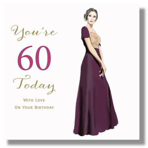 Happy 60th Birthday Card For A Woman - HerbysGifts.com - 8.25 x 8.25 Inches