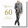 Happy 60th Birthday Card For A Man - HerbysGifts.com - 8.25 x 8.25 Inches