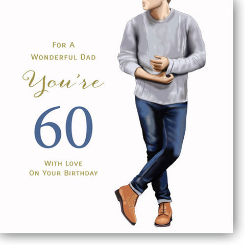 Happy 60th Birthday Card For Dad - HerbysGifts.com - 8.25 x 8.25 Inches