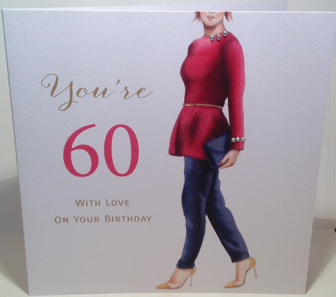 Happy 60th Birthday Card For Women - HerbysGifts.com - 8.25 x 8.25 Inches