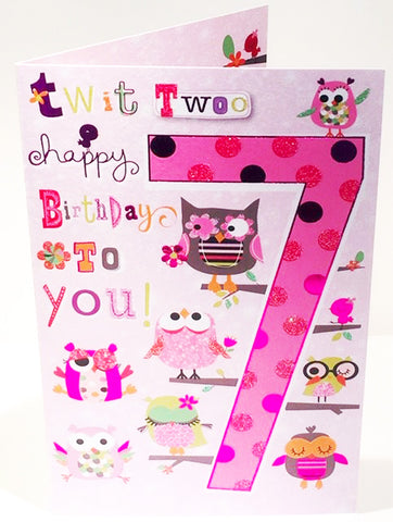 7th Birthday Card For A Girl  - HerbysGifts.com - 8.25 x 5.5 Inches