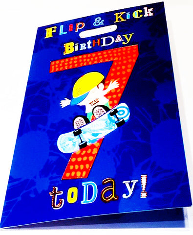 7th Birthday Card For A Boy - HerbysGifts.com - 8.25 x 5.5 Inches