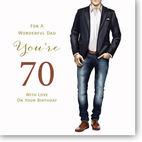 Happy 70th Birthday Card For Dad - HerbysGifts.com - 8.25 x 8.25 Inches