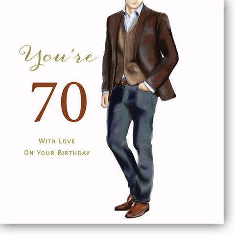 Happy 70th Birthday Card For Men - HerbysGifts.com - 8.25 x 8.25 Inches