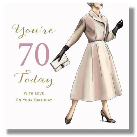 Happy 70th Birthday Card For Women - HerbysGifts.com - 8.25 x 8.25 Inches