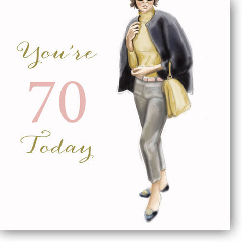 Happy 70th Birthday Card For A Woman - HerbysGifts.com - 8.25 x 8.25 Inches