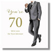 Happy 70th Birthday Card For A Man - HerbysGifts.com - 8.25 x 8.25 Inches