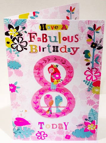 8th Birthday Card For A Girl  - HerbysGifts.com - 8.25 x 5.5 Inches
