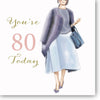 80th Birthday Card For A Lady - HerbysGifts.com - 8.25 x 8.25 Inches