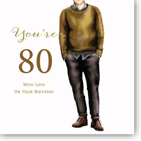 Happy 80th Birthday Card For Men - HerbysGifts.com - 8.25 x 8.25 Inches