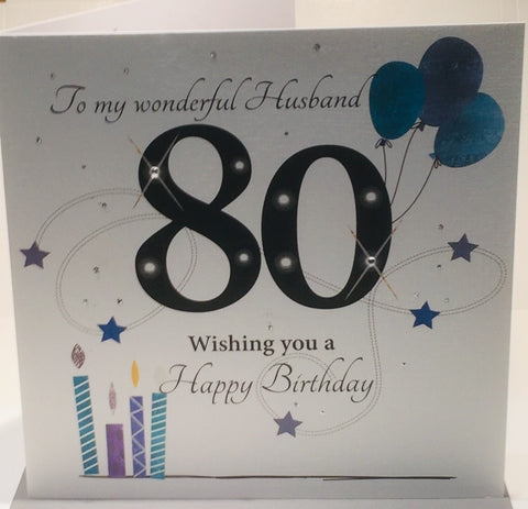 Large 80th Birthday Card Husband - HerbysGifts.com