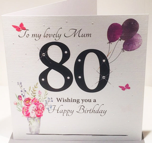 Large 80th Birthday Card Mum