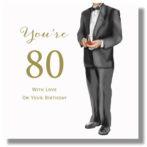Happy 80th Birthday Card For Male  - HerbysGifts.com