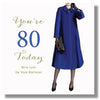 80th Birthday Card For A Woman - HerbysGifts.com - 8.25 x 8.25 Inches