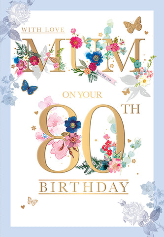 80th Birthday Card Mum