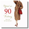 90th Birthday Card for a Woman - HerbysGifts.com - 8.25 x 8.25 Inches