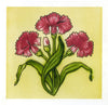 Art Nouveau Carnations Greeting Card - Blank Inside - 6.5 x 6 Inches - HerbysGifts.com