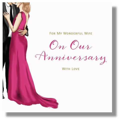 Anniversary Card Wife - HerbysGifts.com - 8.25 x 8.25 Inches