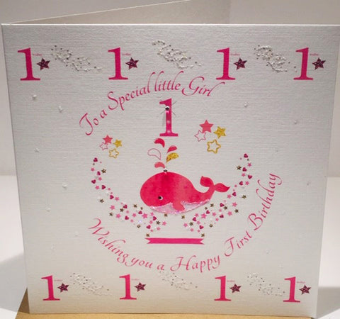 1st Birthday Card for a baby girl - 6 x 6 Inches - HerbysGifts.com