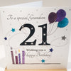 Large 21st Birthday Card Grandson - 8.25 x 8.25 Inches - HerbysGifts.com