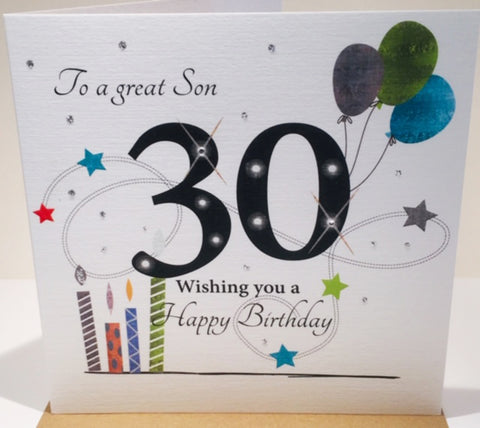 Large 30th Birthday Card Son - 8.25 x 8.25 Inches - HerbysGifts.com